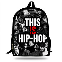 16 inch Mochila School Backpack Hip Hop Printing Children School Bags Boys Teenage Girls Backpacks