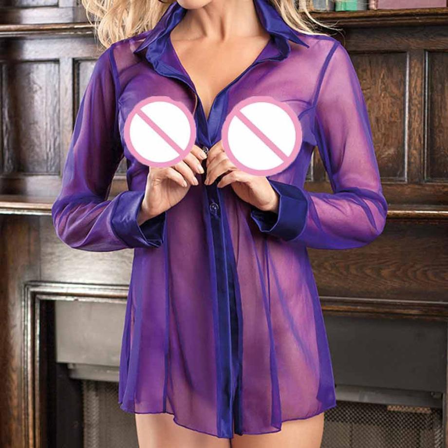 2018 brand new Women Sexy lingerie Transparent Clubwear Stripper Long Sleeve Underwear sexy Long Sleeve Sleepwear #0508