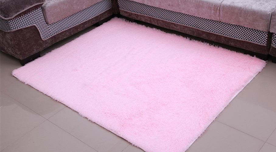 Light Pink 120x160cm Anti skid Soft Fluffy Shaggy Area Rug Dining ...