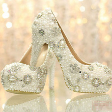 Luxurious Wedding Bridal Shoes Rhinestone with Imitation Pearl 12cm High Heel Wedding Dress Shoes Woman Party Prom Shoes