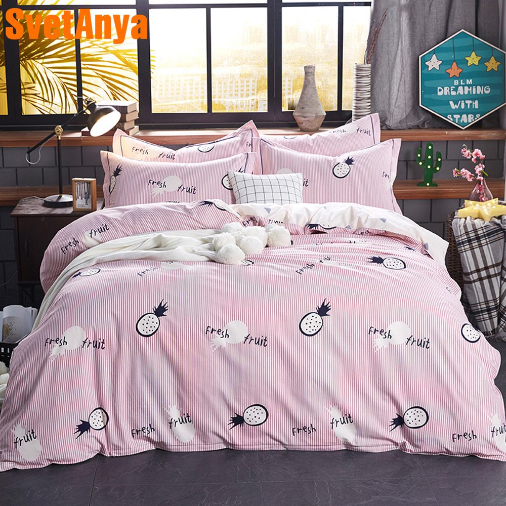 Svetanya Sanded Cotton Bed Linens Pineapple Fruit Bedding Set Queen King Full Size Sheet Pillowcase Duvet Cover Sets