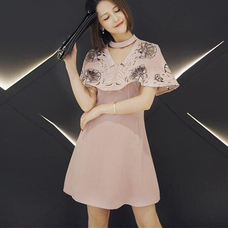 Летнее розовое платье с вышивкой Mori Girl выдалбливают Платья для вечеринок