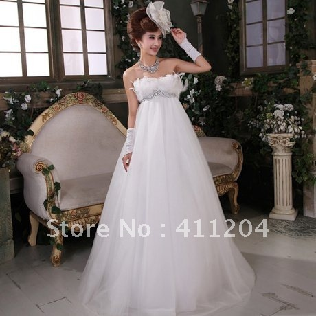 Pregnant Woman Wedding Dress A Line Lace Up Feathers Hs0149