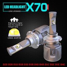 1 компл. мощный X70 120 Вт 15600LM H7 автомобиля светодио дный фар комплект CREE XHP70 Чип 6000 К вождения Туман лампы накаливания H4 H8 H11 9005/6 9012 D2S
