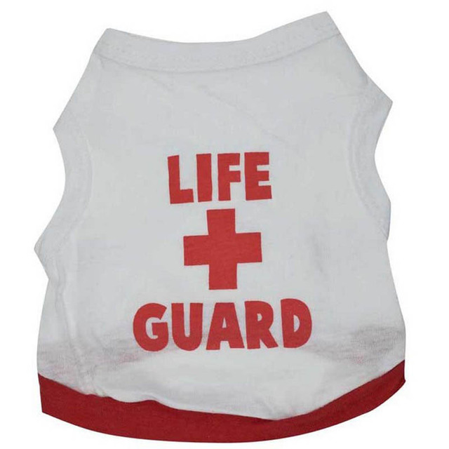 100% Cotton Puppy Dog Vest LIFE GUARD Sleeveless Top Clothes Outdoor Home Leisure T-shirt Coat Clothing For Small Dogs 1
