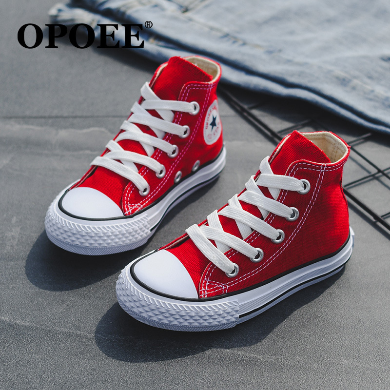 OPOEE Children's Shoes 2019 Spring Models Boys And Girls Classic Lace High Canvas Shoes Baby Casual Shoes