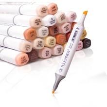 الفنان الدائم رسم أنيمي الجلد مجموعة أقلام تحديد للبشرة لهجة أقلام TouchNew 24 اللون المزدوج تلميح التوأم الكحول أساس مجموعة أقلام