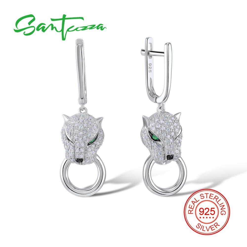 SANTUZZA Silver Earrings For Women 925 Sterling Silver Dangle Earrings Long Silver 925 with Cubic Zirconia brincos Jewelry fancy blue cubic zirconia 925 sterling silver drop dangle earrings for women s0209