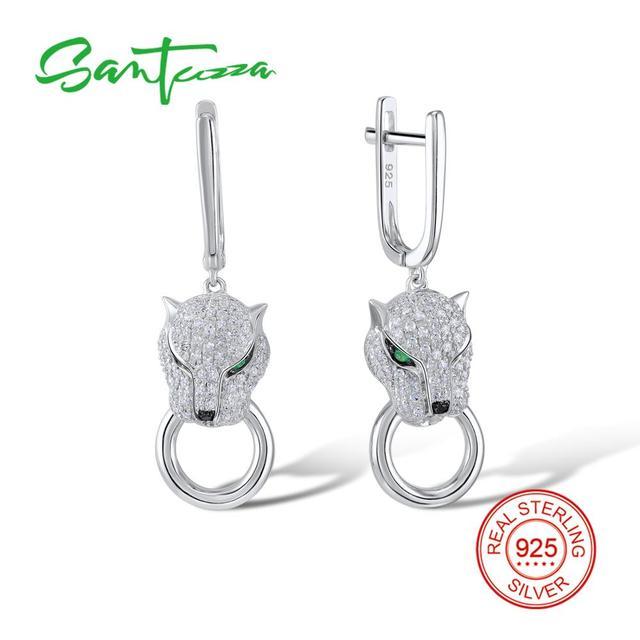 f79c1bc4d SANTUZZA Silver Earrings For Women 925 Sterling Silver Dangle Earrings Long  Silver 925 with Cubic Zirconia brincos Jewelry