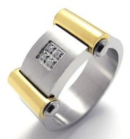 Fashion Polished Stainless Steel Unisex Mens Womens Ring Gold Silver US Size 8 To 12 Drop