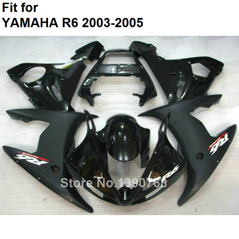 Black Motorcycle fairing kit for Yamaha YZF R6 2003 2004 2005 body work parts fairings set YZFR6 03 04 05 BC11