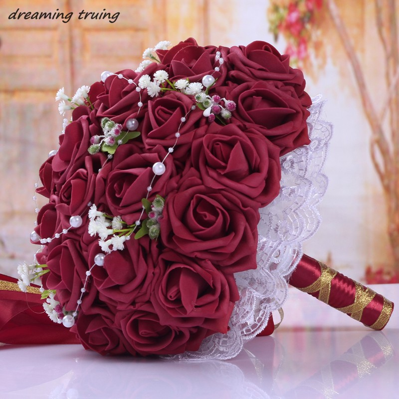 Wedding Flowers For Bridal Party: Burgundy Red Wedding Bouquets 2018 Handmade Bridal Flowers