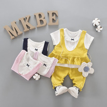 WYNNE GADIS Summer Baby's Clothing Sets Short Sleeve Bow T-shirt + Vest Tops + Pants Kids Princess Party Girls 3Pcs Suits