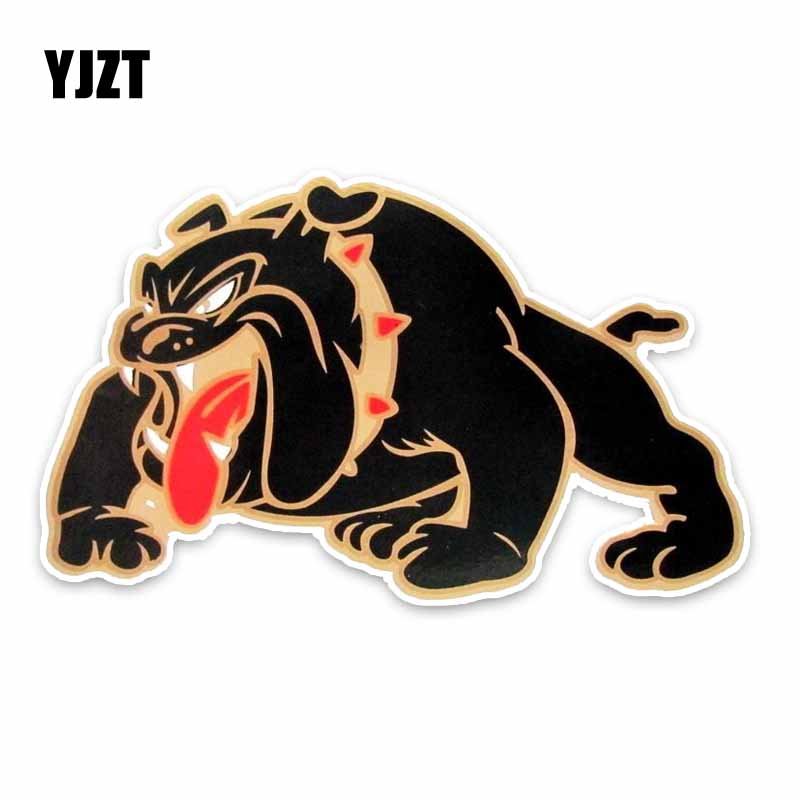 YJZT 16.5*10CM BIG BLACK SCARY BULLDOG STICKER DOG CARTOON Sketch Car Bumper Sticke C1-4046