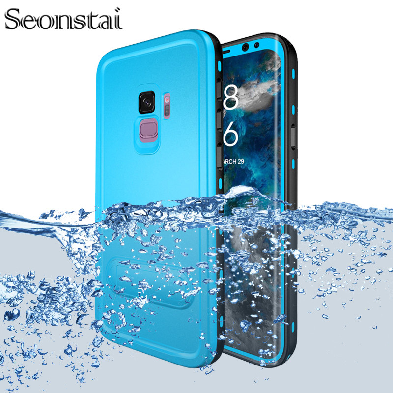 For Samsung Galaxy S8 S9 Plus Waterproof <font><b>Case</b></font> Daily <font><b>Water</b></font> <font><b>Proof</b></font> Swimming Diving Shockproof Cover For Samsung S9 Kickstand Fundas image