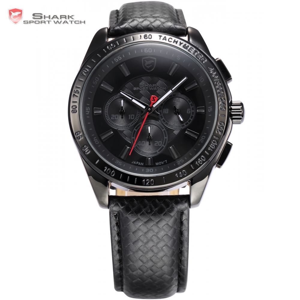 Frilled Shark Sport Watch Brand Mens Relogio Black Chronograph Dial Leather Band Clock Quartz Military Casual Wristwatch /SH227