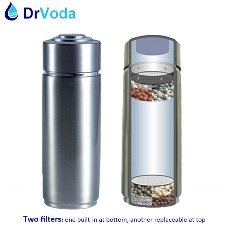 400ml PH 9.0 Two Layers 304 Stainless Alkaline Portable Water Ionizer Bottle Nano Energy Flask Water Filter Bottle Dispenser