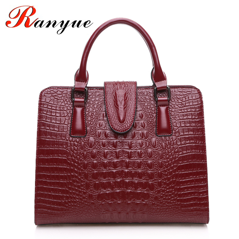 RANYUE High Quality Genuine Leather Bag Ladies Crocodile Pattern Women Messenger Bags Handbags Women Famous Brand Designer 2017 chispaulo women genuine leather handbags cowhide patent famous brands designer handbags high quality tote bag bolsa tassel c165