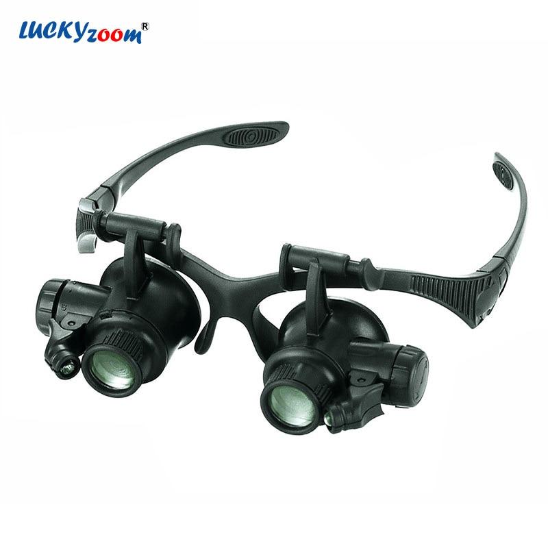 Capacete Óculos LED Óculos Lupa Para Soldar 10X 15X 20X Jóias Iluminado Lupa Lupa de Reparação do Relógio Lupa