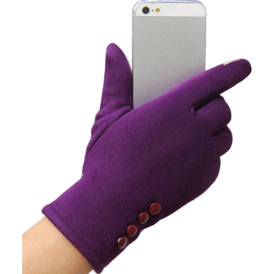 Womens Winter Fashion Cotton Touch Screen Outdoor Sport Party Warm Gloves, Purple