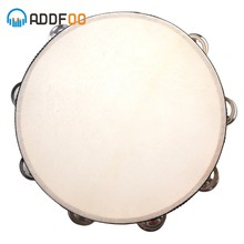 "ADDFOO 10 ""Musical Tamboerijn Hout Hand Held Tamborine Drum Ronde Percussie Gift Voor KTV Party Musical Educatief(China)"