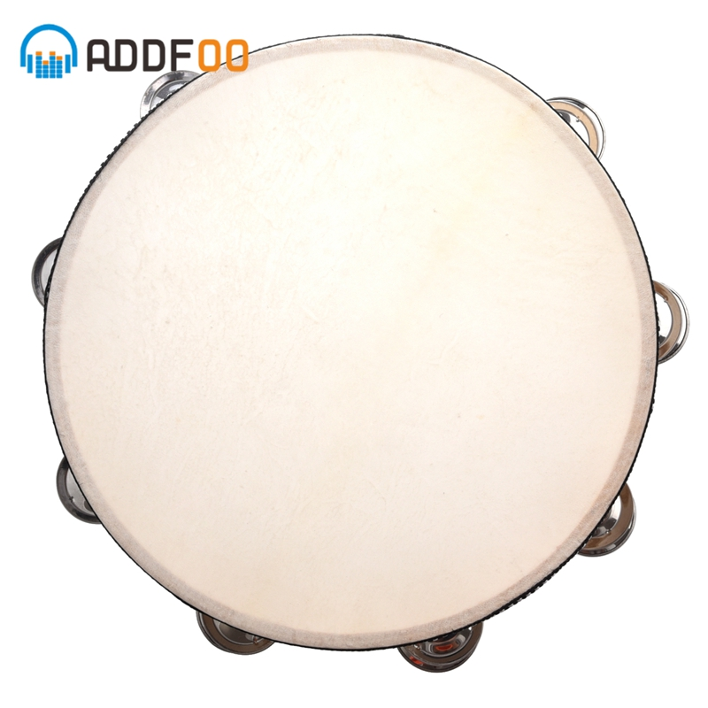 "ADDFOO 10"" Musical Tambourine Wood Hand Held Tamborine Drum Round Percussion Gift For KTV Party Musical Educational"