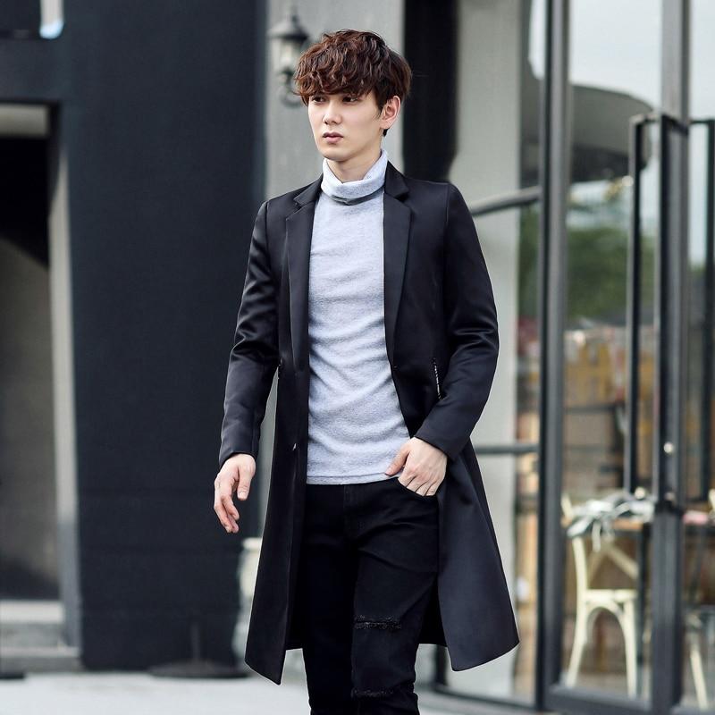 2017 Autumn Winter Men's Fashion Casual Single Breasted Men's Long Blazers Trench Coat Jacket Pea Coat Overcoat British Style