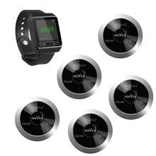 SINGCALL llamada inalámbrica, sistema de reputación oscilan, 5 botones de llamado impermeables con Tres llaves y 1 reloj receptor