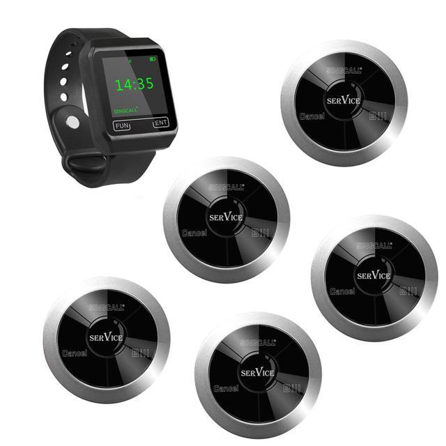 Singcall 무선 호출, 평판 시스템 진동, 3 개의 키 및 1 개의 시계 수신기가있는 5 개의 방수 호출 버튼