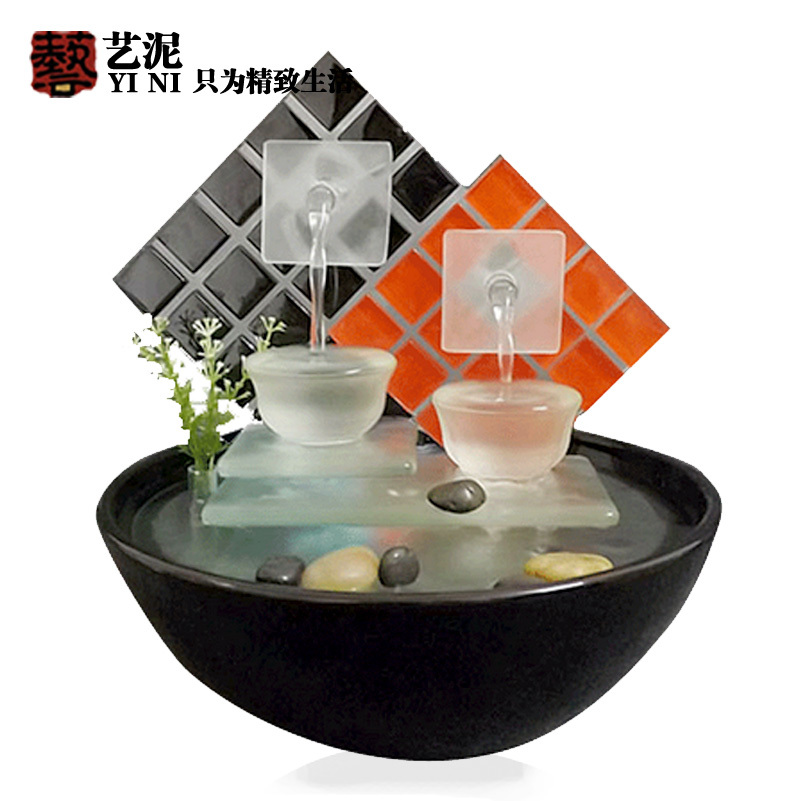 Modern minimalist interior ceramic glass water fountain for Living room humidifier