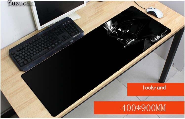 Yuzuoan Дарт Вейдер Звездные войны Бесплатная доставка 900x400X3 мм Большой XL Anti-slip Lock края коврик для мыши gaming Keyboard коврик Индивидуальные