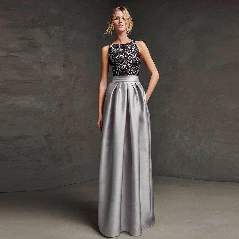 online store 15f9f 2f67d US $115.0  Robe de Soiree Longue Weihnachten Silber Formale Abendkleider  Schwarz Spitze Lange Elegante Abendkleider Günstige Satin 2017-in ...