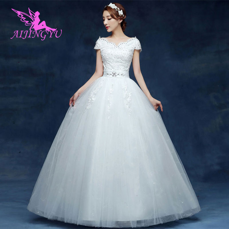 AIJINGYU 2018 Sweet Free Shipping New Hot Selling Cheap Ball Gown Lace Up Back Formal Bride Dresses Wedding Dress WU132