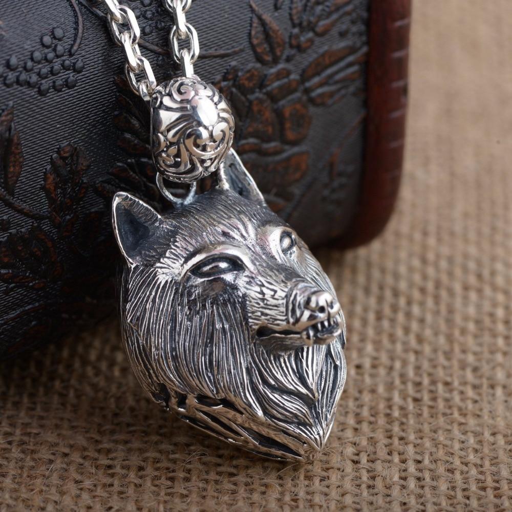 S925 en argent Sterling en gros Thai argent style antique personnalité unique mâle tête de loup pendentif