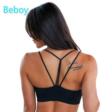 Beboy Sexy Triangle Sport Bras Shakeproof Push Up Gym Yoga Bra Quick Dry Padded Running Fitness Bra Athletic Underwear Tops