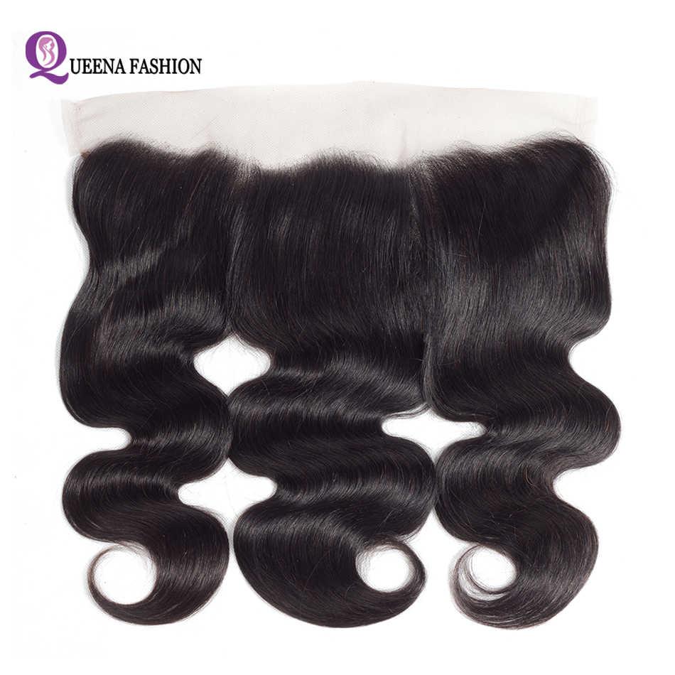غطاء أمامي من الأذن إلى الأذن من الدانتيل الشفاف مع حزم شعر بشري مموج برازيلي ريمي بجبهة