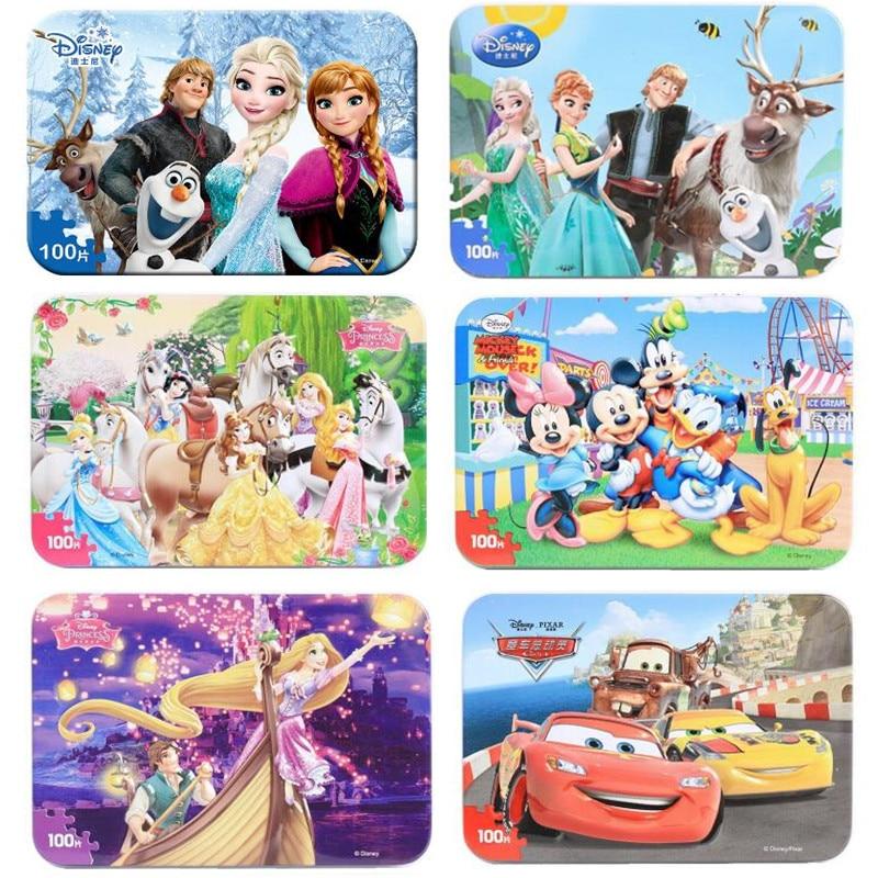 Disney Frozen Cartoon Wooden Toys Puzzle Mickey Anna Elsa Winnie Ariel puzzles for kids Toys For Children Wooden Puzzle toys in Puzzles from Toys Hobbies