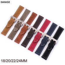 Watch Band Retro Matte Genuine Leather Strap 18mm 20mm 22mm 24mm Watchband Accessories Men Women Brown Black Red Green Band carbon fiber particles watchband 18mm 20mm 22mm 24mmblack waterproof red stitching with genuine leather inner watch band strap