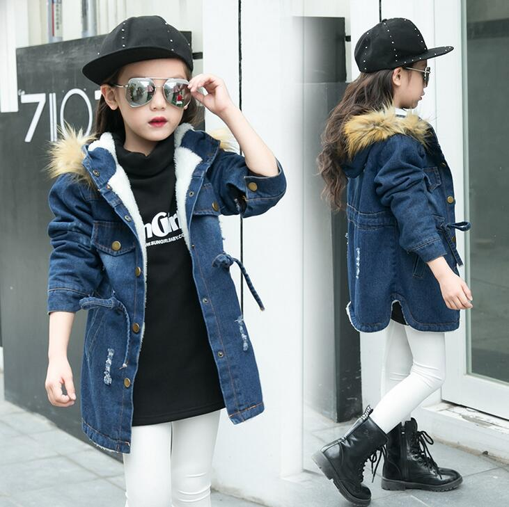 Baby Girls Denim Jackets Coat Fur Hooded Parkas Plus Thick Winter Warm Children Outerwear Long Clothes Kids Clothing Q2069 fur hooded girls winter coats and jackets outwear warm long down jacket kids girls clothes children parkas baby girls clothing