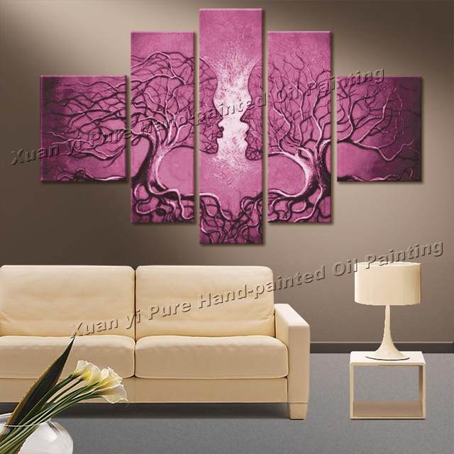 Online Shop 100% Hand Painted White Flower Pictures Wall Art Modern ...