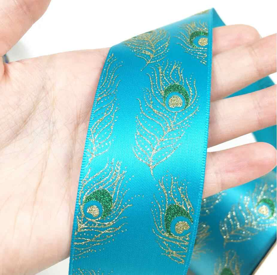 2 yard NEW high quality Indian style Printed Satin ribbon Hot stamping DIY Hairbows Gift Wrapping Wedding Hand made Accessory