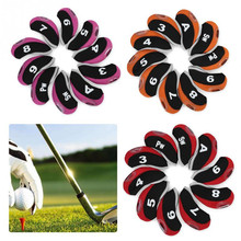 Buy 10pcs/set Golf Headcovers Number Pattern Golf clubs Iron Rod Head Covers Protector Golf Rod Sleeve Accessories directly from merchant!