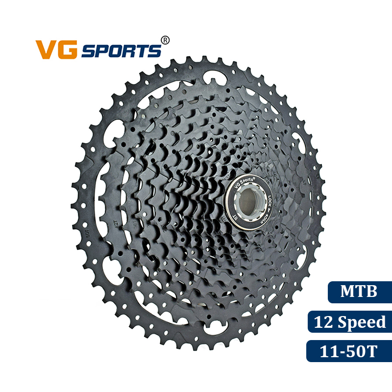 VG Sport VTT VTT 12 Vitesse Cassette 12 Velocidade 12 S 50 T Vélo Pièces Noir Cassete Roue Libre Pignon Cdg cog 667g