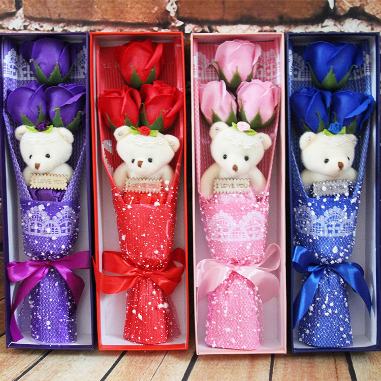 3 soap flower bouquet gift adds bear rose Taobao explosion birthday ...