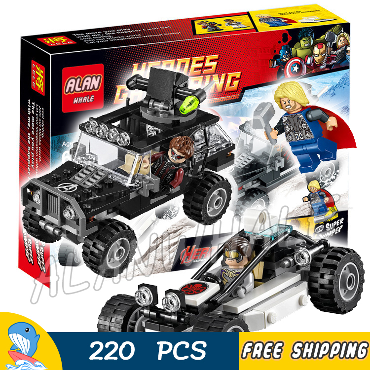 220pcs Super heroes Avengers Hydra Showdown Thor Hawkeye Off Roader 79083 Model Building Blocks Toys Bricks Compatible with Lego ye 77021 building blocks super heroes avengers dino world dinosaur model bricks assemble toys for children kids gift