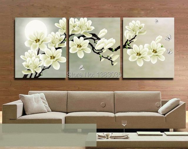 Hand painted abstract butterfly full moon white flower canvas hand painted abstract butterfly full moon white flower canvas landscape modern 3 piece paintings oil wall mightylinksfo