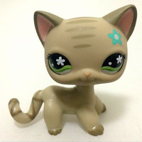 LPS123 FREE SHIPPING Pet Shop Animal Gray Short Hair Kitty Doll Figure Child Toy