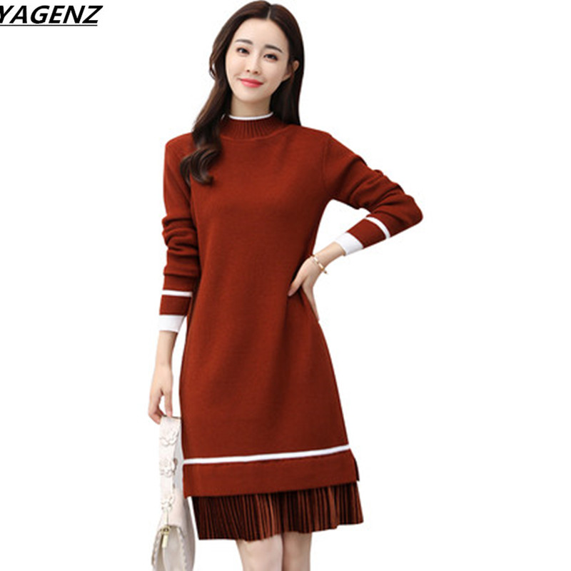 YAGENZ 2018 New Winter Dress Female High Quality Knit Sweater Dress Loose Medium-long Knitted Clothing Elegant Women Dress K779 kenneth cole new white black women s size medium m tunic rib knit sweater $88