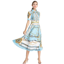 2019 Spring Summer Womens Dress Light Cooked Printed Doll Collar Short-sleeved High Waist Pleated Blue Ladies Large