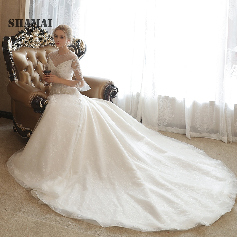 Trumpet Wedding Gowns With Sleeves: SHAMAI New Beach Wedding Dress Elegant Trumpet 3/4 Sleeves